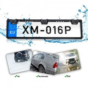 Rendszámtáblába integrált kamera 2 szenzoros tolatóradarral és Monitorral