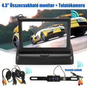 4.3″ Összecsukható monitor vezeték nélküli 7 LED-es tolatókamerával