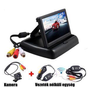 4.3″ Összecsukható monitor vezeték nélküli HD éjjellátó tolatókamerával