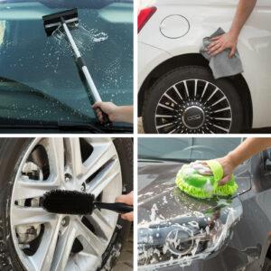 Autóápolási csomag – mikroszálas kendő, szivacs, felnitiszító és vízlehúzó